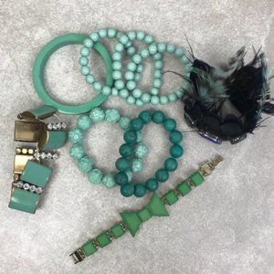 Lot of 9 Green, Teal, and Turquoise Bracelets